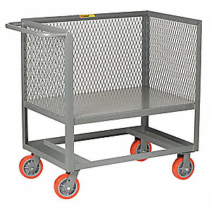 "53""L x 24""W x 40""H Gray Steel 3 Sided Mesh Stock Cart, 2000 lb. Load Capacity"