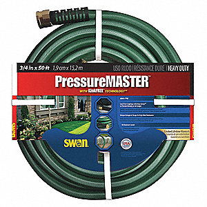 "50 ft. x 3/4"" dia. Water Hose, Plastic, 500 psi, Green"
