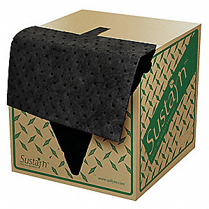 "18"" x 16"" Heavy Absorbent Pad for Universal / Maintenance, Black&#x3b; PK100"