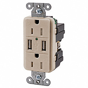 Duplex Charger Receptacle, Number of USB Ports: 2, 3.8A @ 5VDC USB Charging Capacity