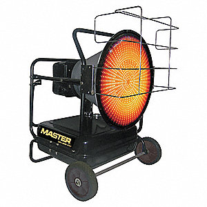 Oil Fired Radiant Heater, 14 gal., 0.90 gph, BtuH Output 125,000, 3125 sq. ft.