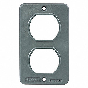 "Outlet Box Plate, 3-51/64"" Height, 2-13/64"" Width, Number of Gangs: 1"