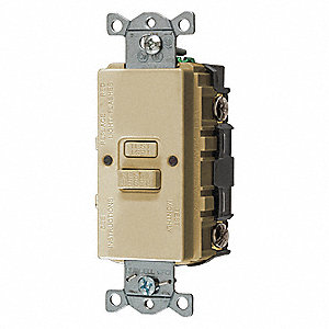 GFCI Receptacle, 20A Amps, NEMA Configuration: None, Outlet Type: Blank Face, Self-Testing: Yes
