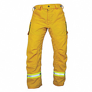 "Tecasafe Plus Wildland Fire Pants, Yellow, 34"" Inseam, Fits Waist Size 35"" to 38"""