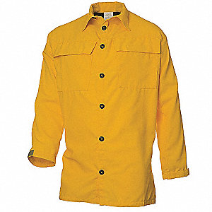Wildland Fire Shirt ,M,Yellow,Button