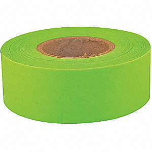 "Flagging Tape,Fluorescent Lime,1-3/16""W"