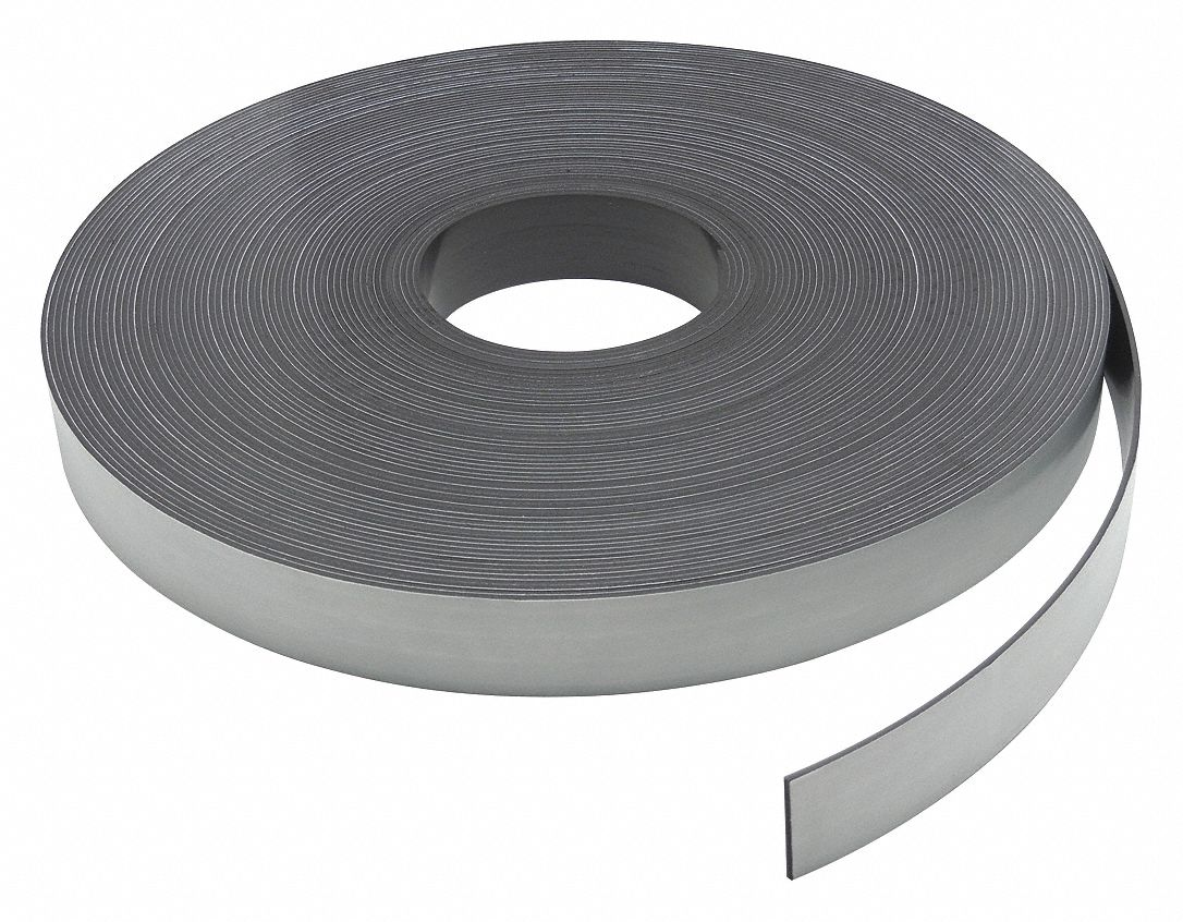Magnetic Strip,  Indoor/Outdoor Adhesive,  9 lb Max. Pull,  10 ft Length,  1 in Width