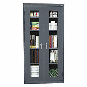 "Commercial Storage Cabinet, Charcoal, 78"" H X 36"" W X 18"" D, Assembled"
