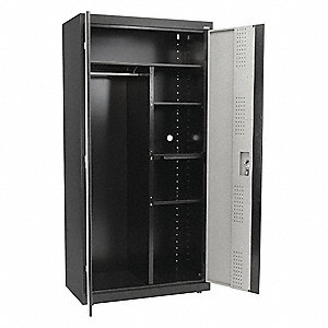 "Commercial Storage Cabinet, Gray/Black, 72"" H X 46"" W X 24"" D, Assembled"