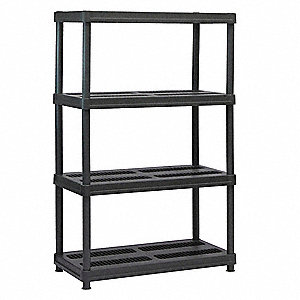"Freestanding Open Plastic Shelving, 36""W x 18""D x 56"" Load Cap., 4 Shelves, Black"