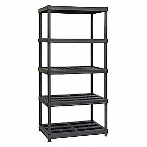 "Freestanding Open Plastic Shelving, 36""W x 24""D x 72"" Load Cap., 5 Shelves, Black"