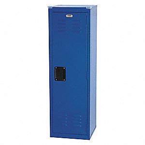 "Blue Wardrobe Locker, (1) Wide, (1) Tier Openings: 1, 15"" W X 15"" D X 48"" H"