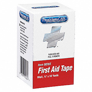 First Aid Tape,White,1/2 In. W,10 yd. L