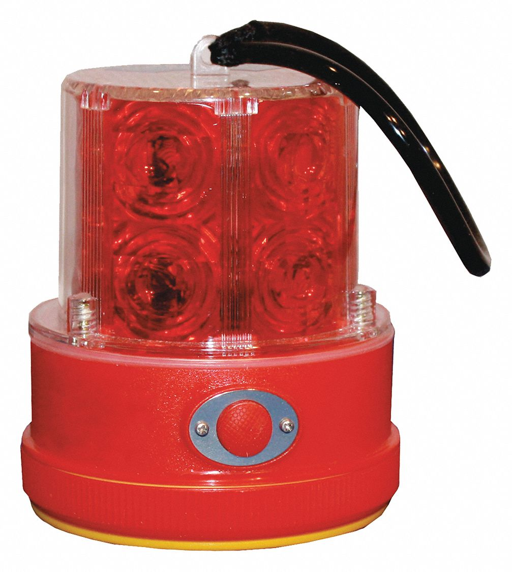 Revolving Safety/Warning Light,  LED,  (2) D Batteries (Not Included),  Flashes per Minute 65