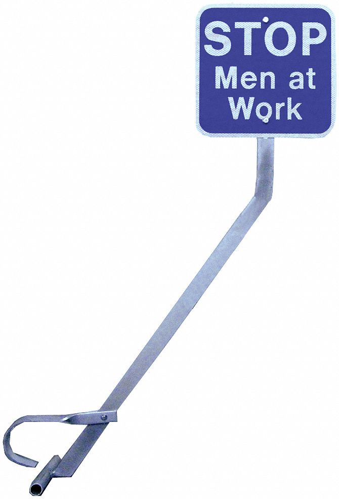 Portable Rail Clamp Sign Holder and Sign,  Sign Legend Stop Men At Work