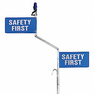 "Flag Staff and Sign,  Safety First,  19-5/8"" Width,  9-5/8"" Height,  .0625"" Thickness"