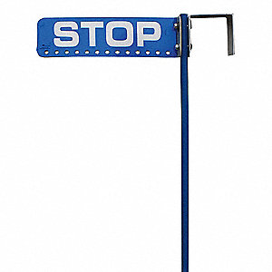 "Flag Staff and Sign,  Stop (Double Sided),  14"" Width,  4"" Height,  .125"" Thickness,  Aluminum"