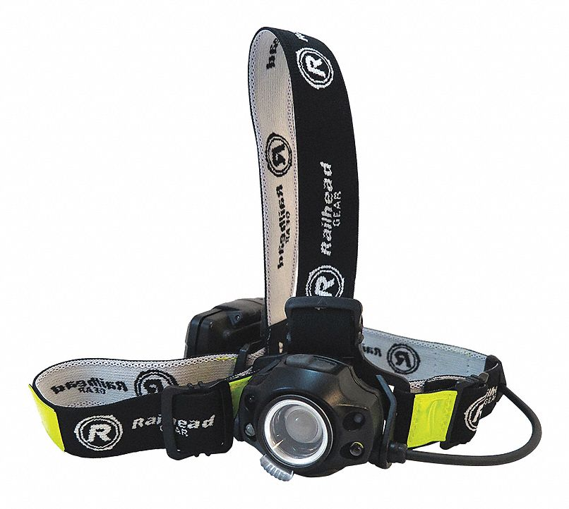 LED Headlamp, Plastic, 50,000 hr Lamp Life, Maximum Lumens Output: 450, Black