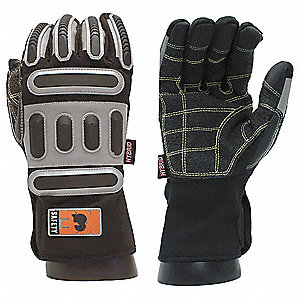 Railroad Hybrid Work Glove, Kevlar® Palm Material, Black, M, PR 1