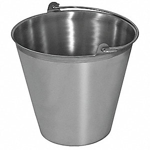 "13-1/2"" x 13-1/2"" x 13"" Stainless steel Pail, Silver"