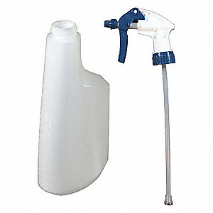 Clear/Blue Polypropylene/Polyethylene Trigger Spray Bottle, 22 oz., 1 EA