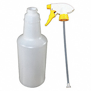 Clear/Yellow/White Polypropylene/Polyethylene Trigger Spray Bottle, 32 oz., 1 EA