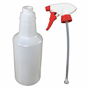 Clear/Red Polypropylene/Polyethylene Trigger Spray Bottle, 32 oz., 1 EA