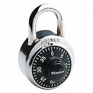 "Combination Padlock, Not Resettable Center-Dial Location, 3/4"" Shackle Height"
