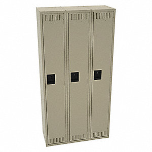 "Sand Wardrobe Locker, (3) Wide, (1) Tier Openings: 3, 36"" W X 15"" D X 72"" H"