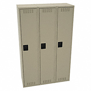 "Sand Wardrobe Locker, (3) Wide, (1) Tier Openings: 3, 15"" W X 18"" D X 72"" H"