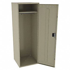"Sand Wardrobe Locker, (1) Wide, (1) Tier Openings: 1, 24"" W X 24"" D X 72"" H"