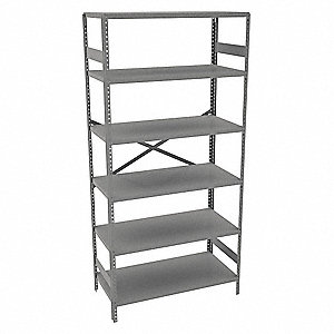 "Freestanding Open Metal Shelving, 36""W x 18""D x 75"" Load Cap., 6 Shelves, Gray"
