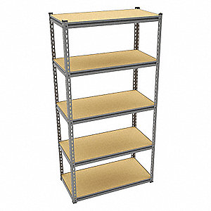 "Freestanding Boltless Shelving with Particle Board Decking, 5 Shelves, 36-5/8""W x 18-5/8""D x 72""H"