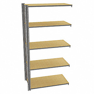 "Add-On Boltless Shelving with Particle Board Decking, 5 Shelves, 49""W x 24-5/8""D x 96""H"
