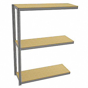 "Add-On Boltless Shelving with Particle Board Decking, 3 Shelves, 73""W x 24-5/8""D x 96""H"