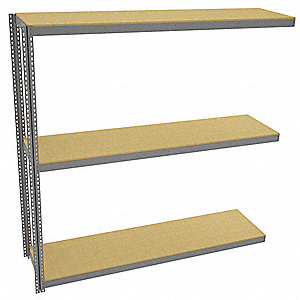 "Add-On Boltless Shelving with Particle Board Decking, 3 Shelves, 97""W x 24-5/8""D x 96""H"