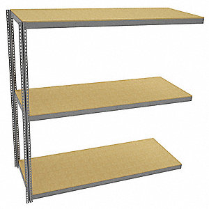 "Add-On Boltless Shelving with Particle Board Decking, 3 Shelves, 97""W x 36-5/8""D x 96""H"