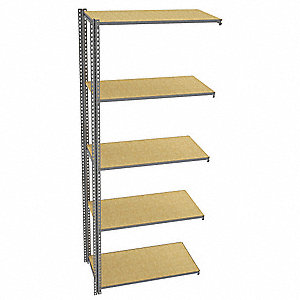 "Add-On Boltless Shelving with Particle Board Decking, 5 Shelves, 49""W x 24-5/8""D x 120""H"