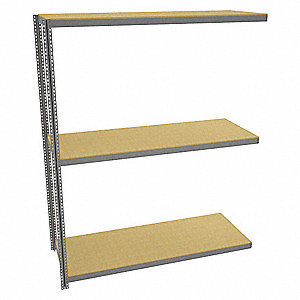 "Add-On Boltless Shelving with Particle Board Decking, 3 Shelves, 97""W x 36-5/8""D x 120""H"