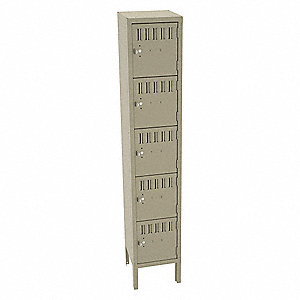 "Sand Box Locker, (1) Wide, (5) Tier , Openings: 5, 12"" W X 12"" D X 66"" H"