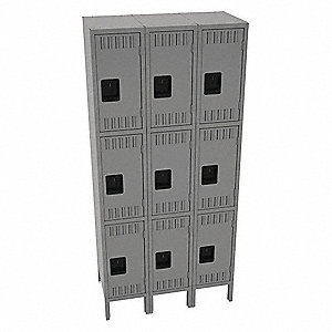 "Medium Gray Wardrobe Locker, (3) Wide, (3) Tier Openings: 9, 36"" W X 18"" D X 78"" H"