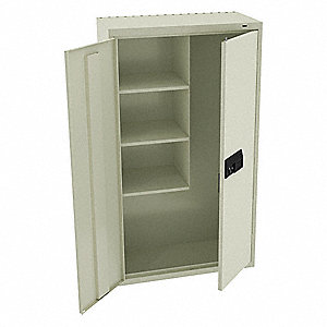 Storage Cab,Chmpg/Putty,64in.H,Elec Lock