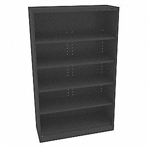 "Freestanding Closed Metal Shelving, 48""W x 18""D x 78"" Load Cap., 6 Shelves, Black"