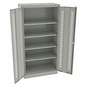 "Commercial Storage Cabinet, Light Gray, 72"" H X 36"" W X 18"" D, Assembled"