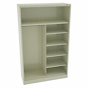 "Commercial Storage Cabinet, Champagne/Putty, 78"" H X 48"" W X 18"" D, Assembled"