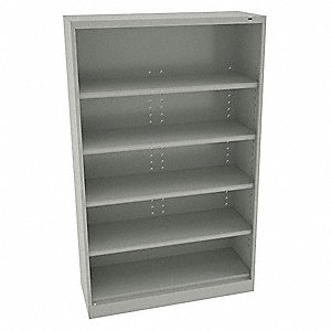 "Freestanding Closed Metal Shelving, 48""W x 24""D x 78"" Load Cap., 6 Shelves, Light Gray"