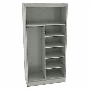 "Commercial Storage Cabinet, Light Gray, 72"" H X 36"" W X 24"" D, Assembled"