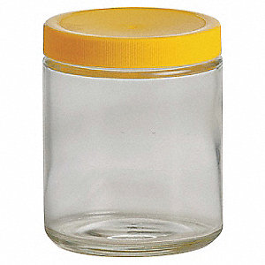 Wide Mouth Straight Side Round Precleaned Jar, Sampling, Glass, 240mL, Clear, 24 PK
