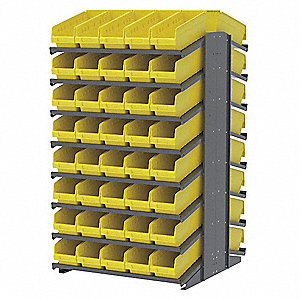 "Steel Pick Rack with 80 Bins, 39""W x 36-3/4""D x 60-1/4""H, Load Capacity: 1800 lb., Gray"
