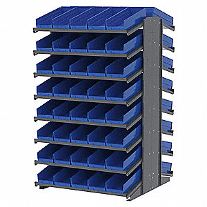 "Steel Pick Rack with 84 Bins, 39""W x 36-3/4""D x 60-1/4""H, Load Capacity: 1800 lb., Gray"